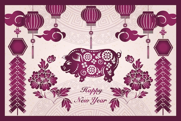 Happy chinese new year retro purple traditional frame pig peony flower lantern firecrackers and cloud