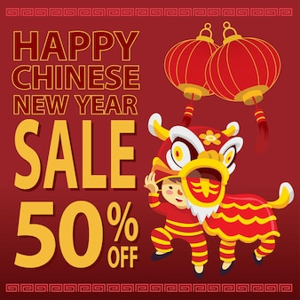 Happy chinese new year sale with cartoon character lion dance