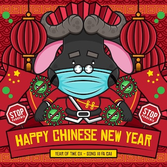 Happy chinese new year social media poster template with cute cartoon character of ox astronaut fight with corona