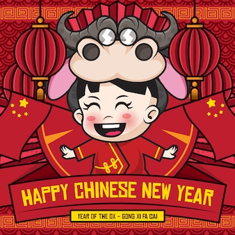 Happy chinese new year social media  template with cute cartoon character of kids wearing ox costume