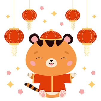 Happy chinese new year symbol  tiger in traditional red costume
