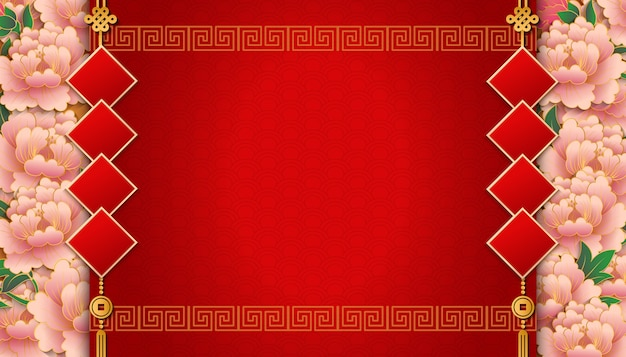 Happy chinese new year template with flower spiral lattice frame border and coupleet Premium Vector