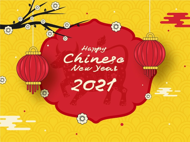 Happy chinese new year text with zodiac ox sign, flower branch, hanging tradition lanterns on red and yellow semi circle pattern background.