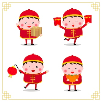 旧正月おめでとう。さまざまな中国の子供たちの姿勢のコレクション。