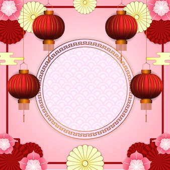 Happy chinese new year with 3d hanging red lantern with flower bloom and circle golden pattern