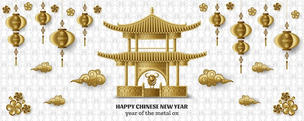 Happy chinese new year with beautiful pagoda, creative golden metal ox and hanging lanterns.