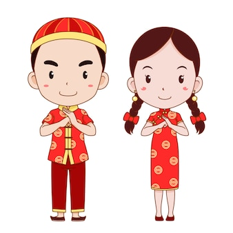 Happy chinese new year with cute couple cartoon in chinese traditional costume.