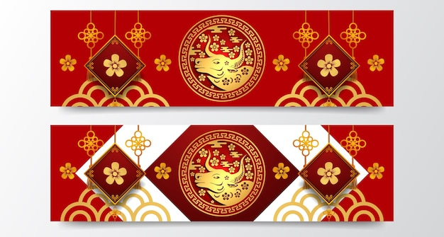 Happy chinese new year , year of ox. golden decoration and hanging flower decoration. banner template