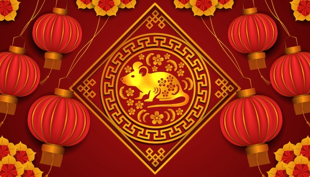 Happy chinese new year. year of rat or mouse. zodiac tradition golden design with flower.