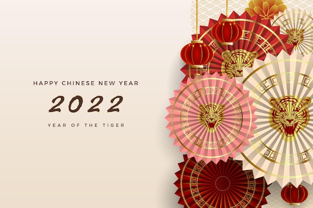 Happy chinese new year year of the tiger with fan decorations in different colors