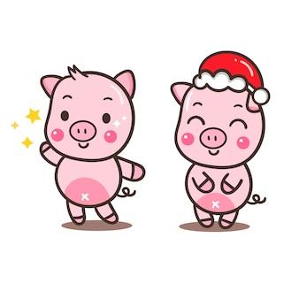 Иллюстратор мультяшного свиного набора (happy chinese new year)