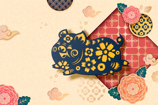 Happy chinese style background with flying blue piggy and peony pattern in paper art style