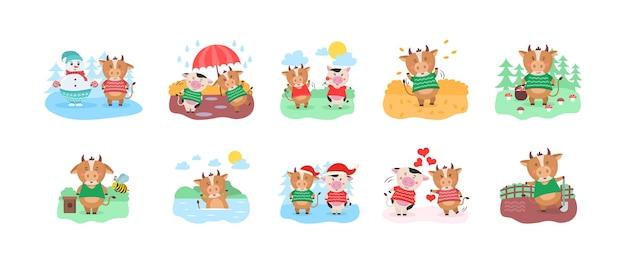 귀여운 암소와 행복 한 중국 년 달력 서식 파일 디자인