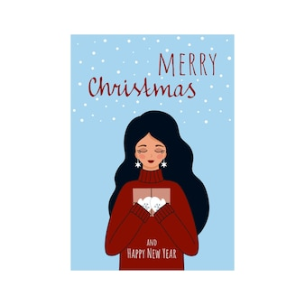 ハッピークリスマスと新年。美しい少女は手紙と贈り物に満足しています。初心者2021年のベクトルグリーティングカード。冬をテーマにしたフラットな漫画イラスト。手レタリング書道。