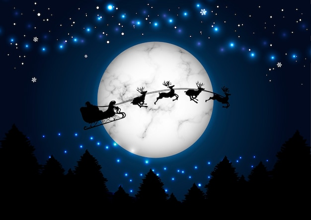 Счастливого рождества и нового года концепция санта на фоне луны