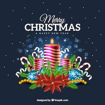 Счастливый рождественский фон со свечами