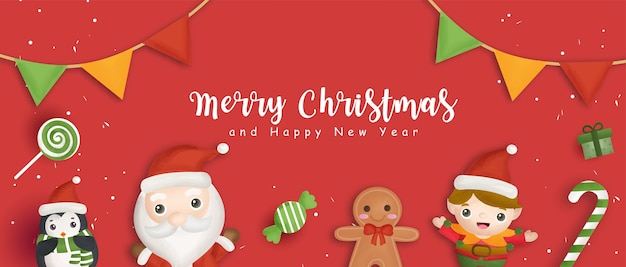 Happy christmas banner with santa claus and friends.