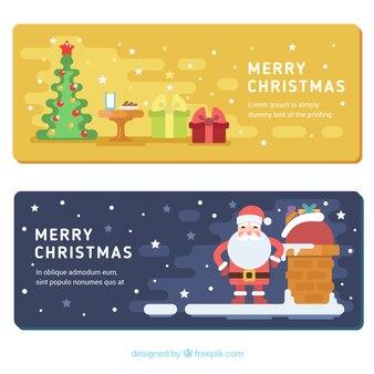 평면 디자인에 산타 클로스와 나무와 함께 행복 한 크리스마스 배너