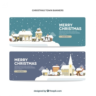 Happy christmas banners with snowy villages