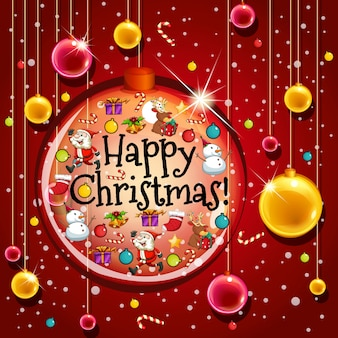 赤い背景にボールでハッピークリスマスカードテンプレート