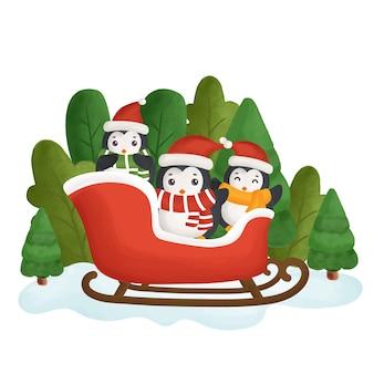 숲에서 귀여운 펭귄과 함께 행복 한 크리스마스 카드. 프리미엄 벡터