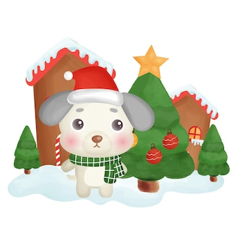 Happy christmas card with a cute dog in the snow town.