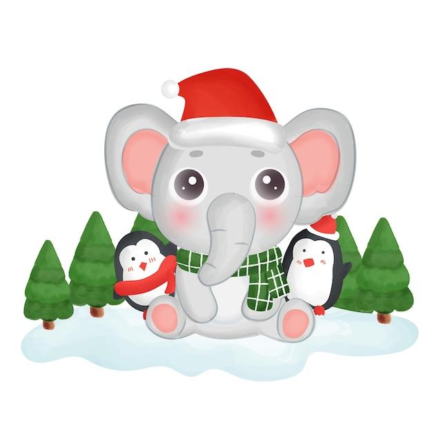귀여운 코끼리와 펭귄 해피 크리스마스 카드입니다. 프리미엄 벡터