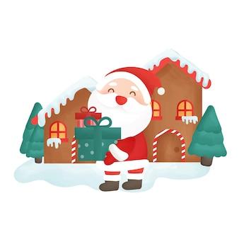 サンタクロースと家のハッピークリスマスカード。
