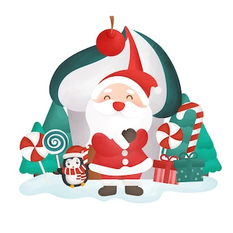 Happy christmas card with santa clause and candy house.