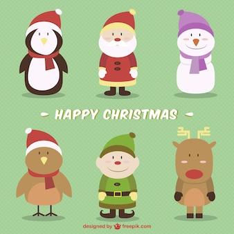 Happy christmas characters