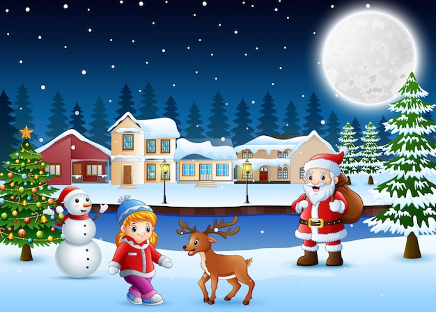 Happy christmas day in winter with snowy village background