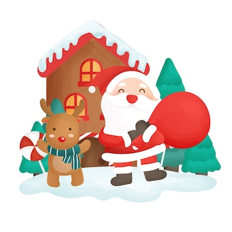 Happy christmas day with santa clause holding a bag and reindeer.