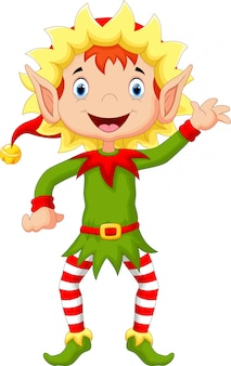 Happy christmas elf cartoon