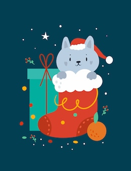 Happy christmas greeting card with funny cat and festive decorations
