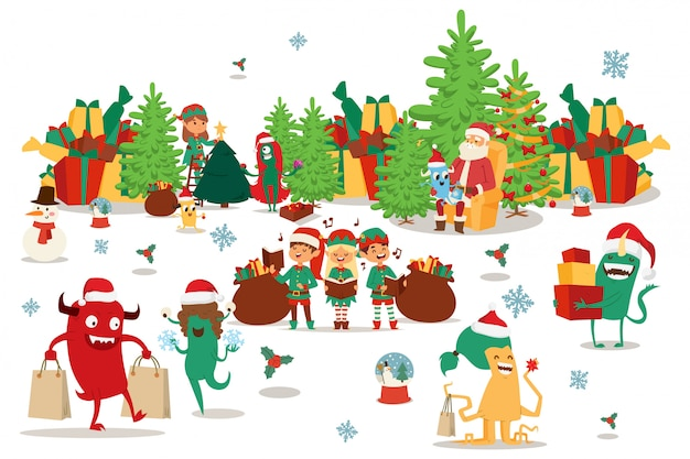 Happy christmas monsters carry gifts in multi-colored boxes and bags,  illustration. santa claus sitting in chair near christmas tree