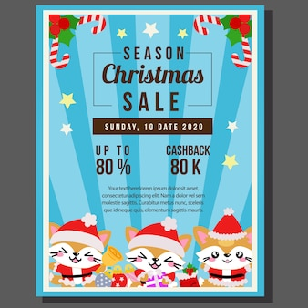 Happy christmas sale with cute cat characters