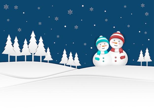 Happy christmas scene, snowman on christmas snowfall illustration in winter season.
