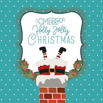 Happy christmas scene with santa claus in chimney