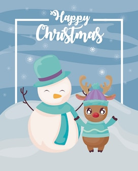 Happy christmas snowman with reindeer on winter landscape