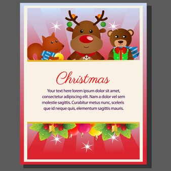 Happy christmas theme poster cartoon characters