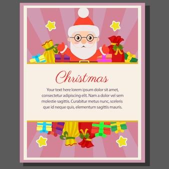 Happy christmas theme poster flat style santa gift sacks
