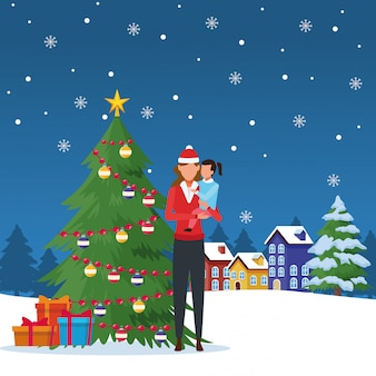 Happy christmas in winter