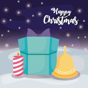Happy christmas with gift box on winter landscape