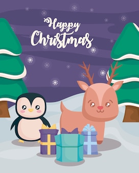 Happy christmas with penguin and reindeer on winter landscape