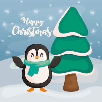 Happy christmas with penguin on winter landscape