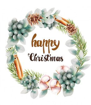 Happy christmas wreath with ornaments