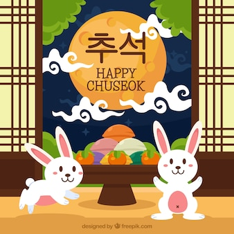 Happy chuseok background with rabbits
