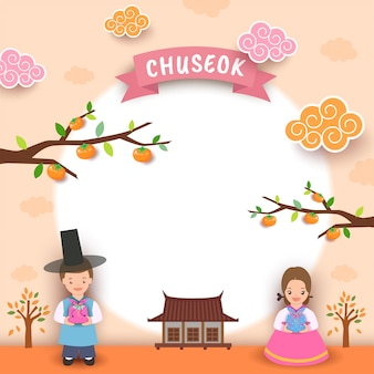 Happy chuseok boy girl moon