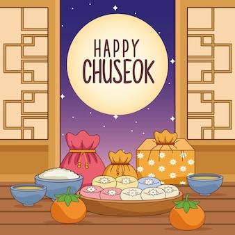 屋内と満月の食べ物で幸せな秋夕のお祝い