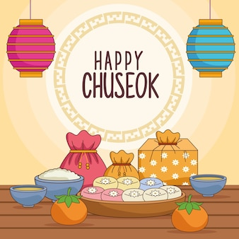 Happy chuseok celebration with food and lanterns hanging
